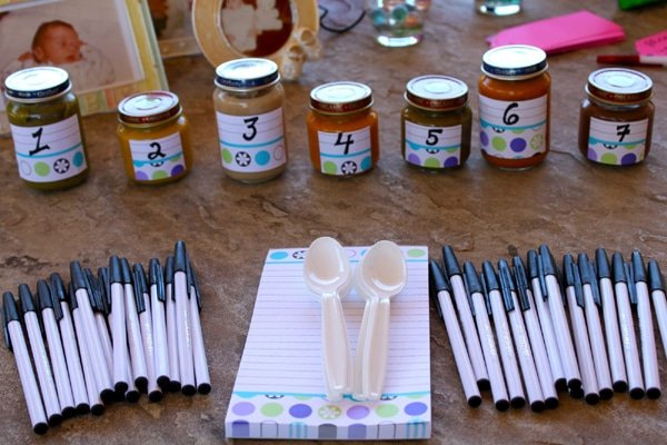 Baby Shower Guess the Baby Food Game, 15 Entertaining Baby Shower Games via Pretty My Party