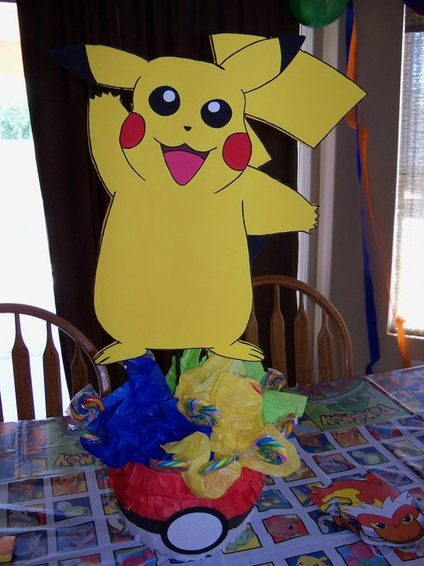 DIY Pikachu Table Centerpiece, Pokemon Party Ideas via Pretty My Party