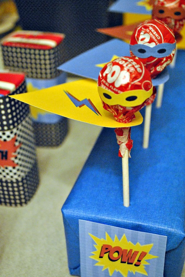 DIY Superhero Lollipops | Budget Birthday Favors via Pretty My Party