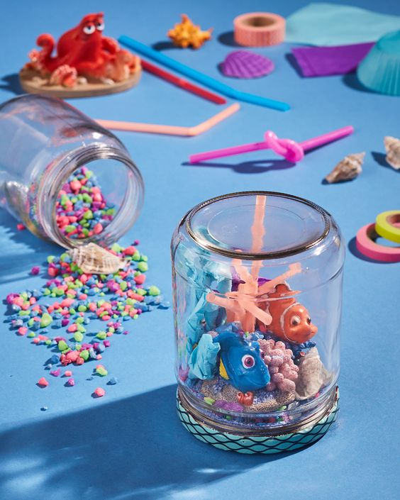 DIY Dory Jars, Finding Dory Birthday Party Ideas | Pretty My Party