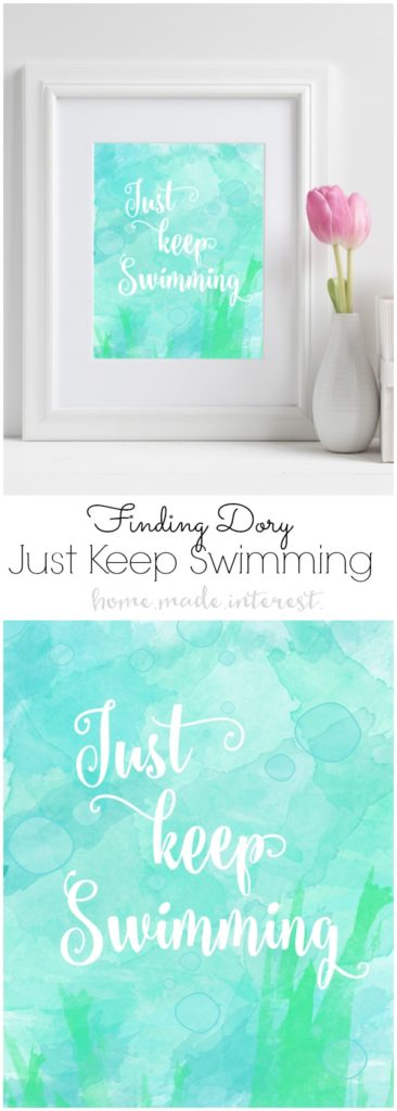 Just Keep Swimming Printable, Finding Dory Birthday Party Ideas | Pretty My Party