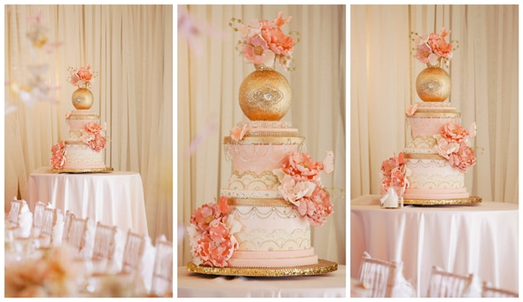 Gorgeous Pink and Gold Baby Shower Cake For Girls