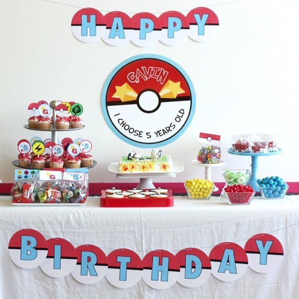 Pokemon Dessert Table, Creative Pokemon Birthday Party Ideas via Pretty My Party