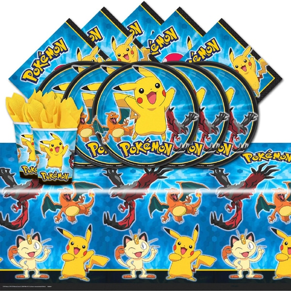 Plates, Cups, Napkins and Table Cover - Creative Pokemon Birthday Party Ideas - Pretty My Party