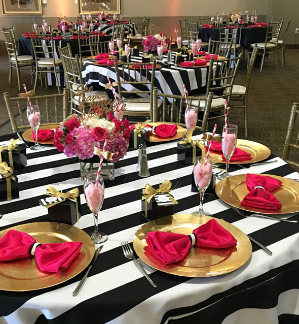 Kate Spade Birthday Table Setting via Pretty My Party