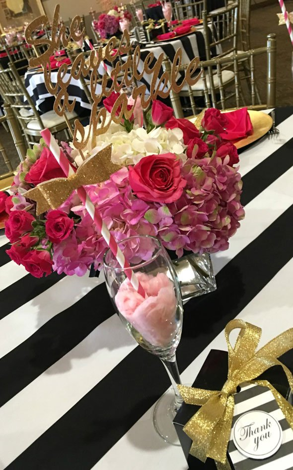 Kate Spade Birthday Flower Centerpieces via Pretty My Party