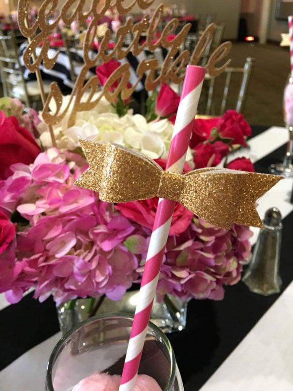 Kate Spade Birthday Gold Bow Straws via Pretty My Party