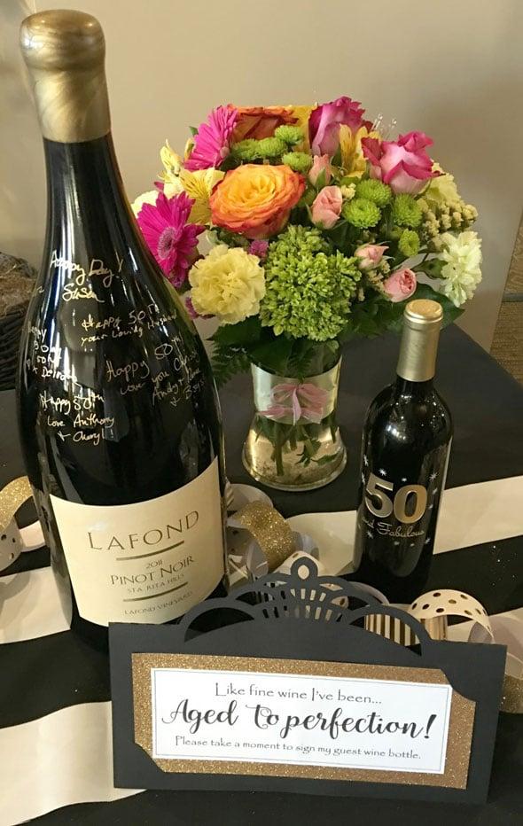 Kate Spade Birthday Wine Bottle Guestbook via Pretty My Party