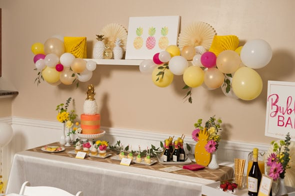 Pineapple Themed Bridal Shower dessert table via Pretty My Party