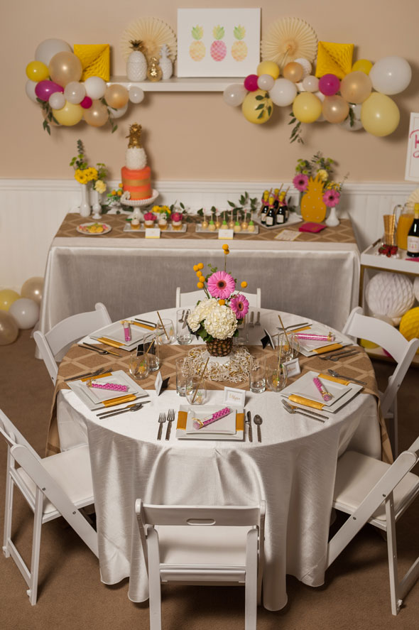Pineapple Themed Bridal Shower table setting via Pretty My Party
