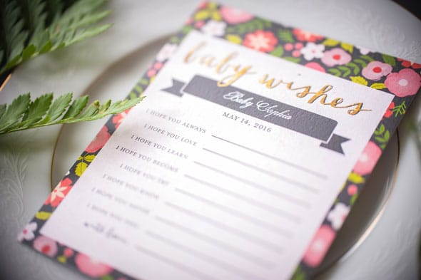 Modern Garden Baby Shower Baby Wishes Stationary via Pretty My Party