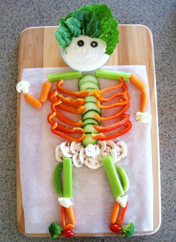 Veggie Skeleton, Healthy Halloween Snack For Kids