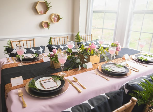 Modern Garden Baby Shower Tablescape via Pretty My Party