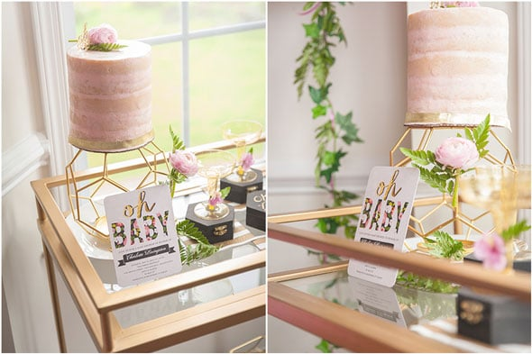 Modern Garden Baby Shower Pink Cake via Pretty My Party
