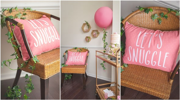 Modern Garden Baby Shower Pillows via Pretty My Party