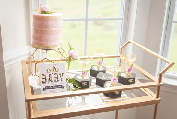 Modern Garden Baby Shower Bar Cart via Pretty My Party