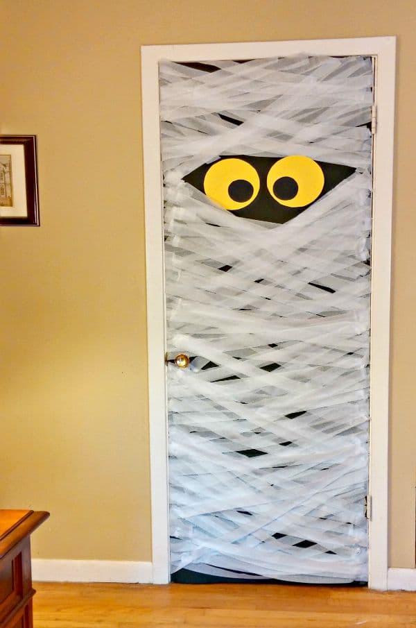 Crepe Paper Mummy Halloween Door Decoration