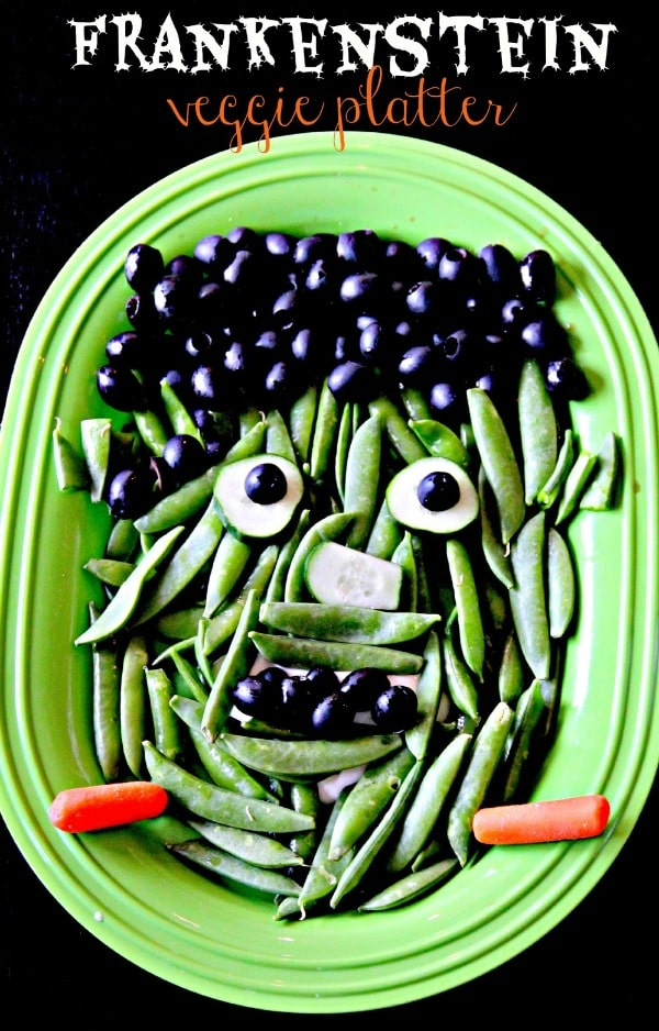 Frankenstein Veggie Platter, Healthy Halloween Food Ideas
