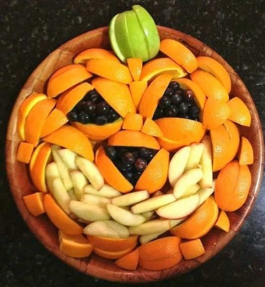 Jack-O-Lantern Fruit Platter, Healthy Halloween Treat Idea