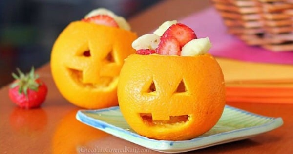 Jack-O-Lantern Fruit Cups, Healthy Halloween Snack Ideas