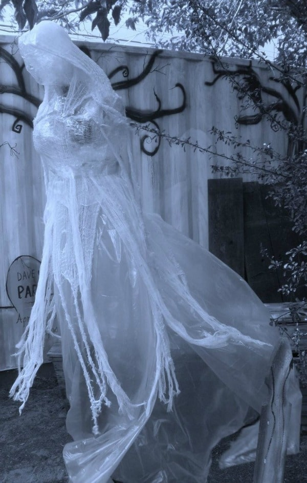 Packing Tape Ghost Woman - DIY Halloween Decorations