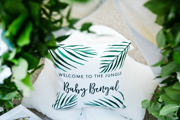 Welcome to the Jungle Baby Shower Personalized Pillows via Pretty My Party