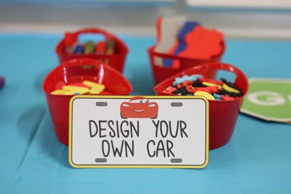 Disney's Cars Themed Birthday Party Design A Car Activity | Pretty My Party