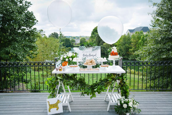 Welcome to the Jungle Baby Shower Sweets Table via Pretty My Party
