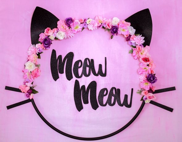 Meow Meow Birthday Party dessert table backdrop via Pretty My Party