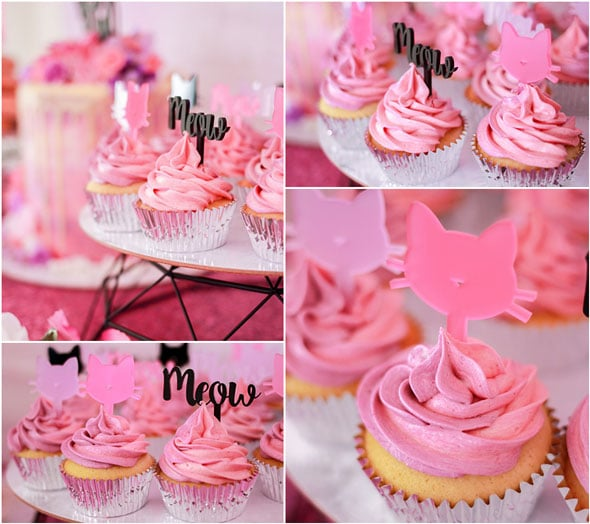 Meow Meow Birthday Party pink cupcakes via Pretty My Party