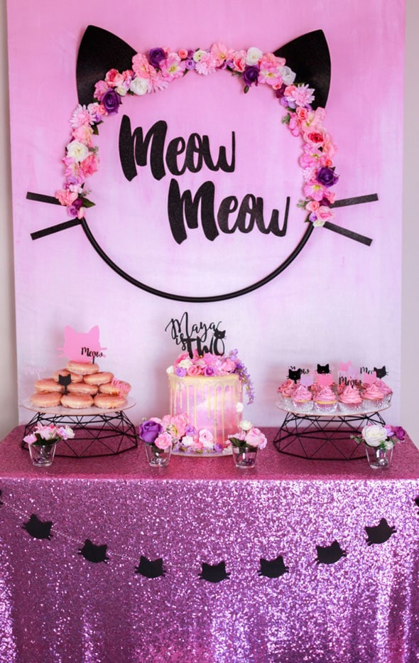Meow Meow Birthday Party dessert table idea via Pretty My Party