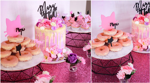 Meow Meow Birthday Party desserts via Pretty My Party