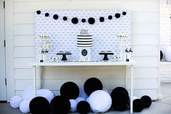 Party Like a Panda Birthday Party sweets table via Pretty My Party