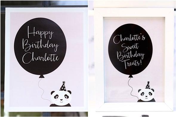 Party Like a Panda Birthday Party sign via Pretty My Party