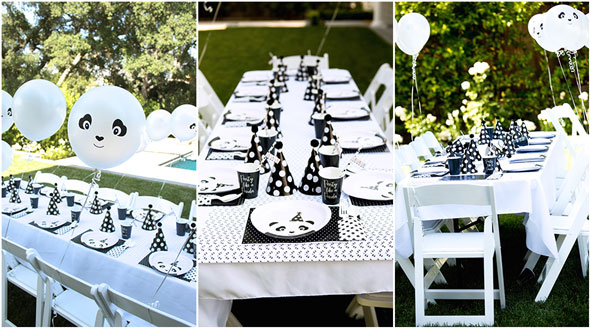 Party Like a Panda Birthday Party table set up via Pretty My Party