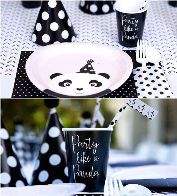 Party Like a Panda Birthday Party plates and cups via Pretty My Party