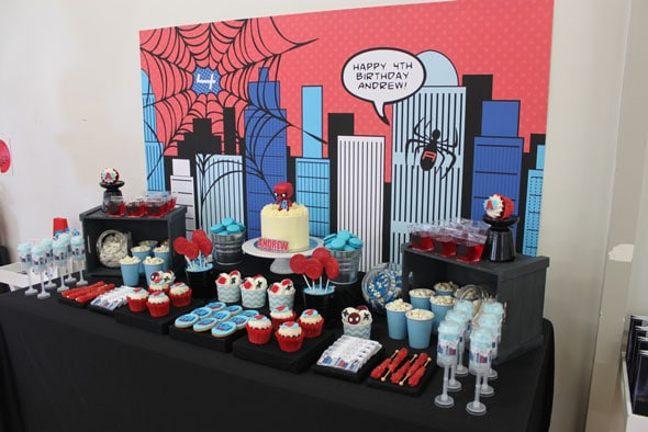 Spiderman Birthday Party Dessert Table | Pretty My Party
