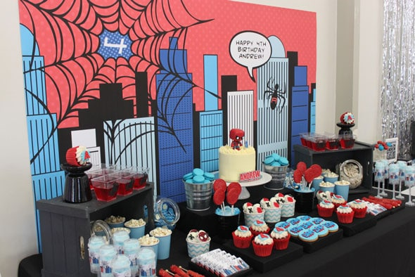 Spiderman Birthday Party Sweets Table | Pretty My Party