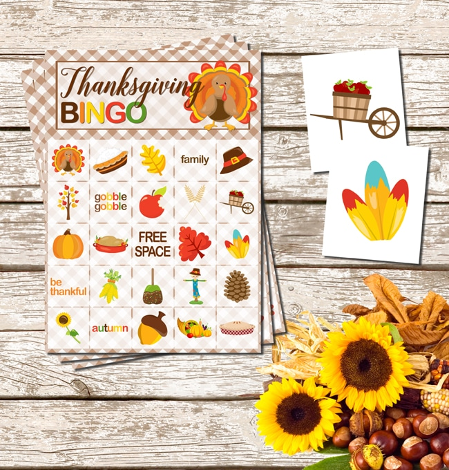 Free Printable Thanksgiving Bingo Game via Pretty My Party