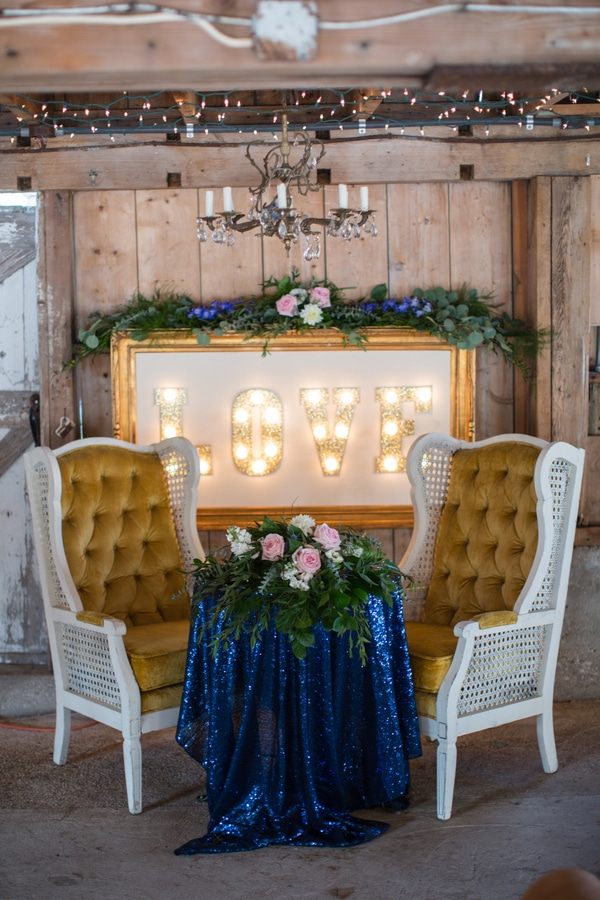 Rustic Glam Wedding Love Sweetheart Table via Pretty My Party