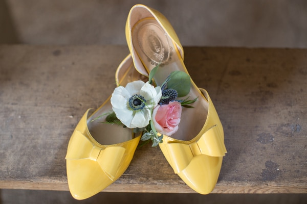 Rustic Glam Wedding Yellow Shoes via Pretty My Party