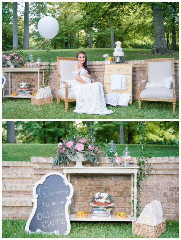 Whimsical Outdoor Baby Shower Decorations via Pretty My Party