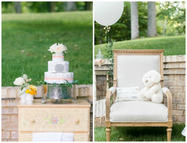 Whimsical Outdoor Baby Shower Diaper Cake via Pretty My Party