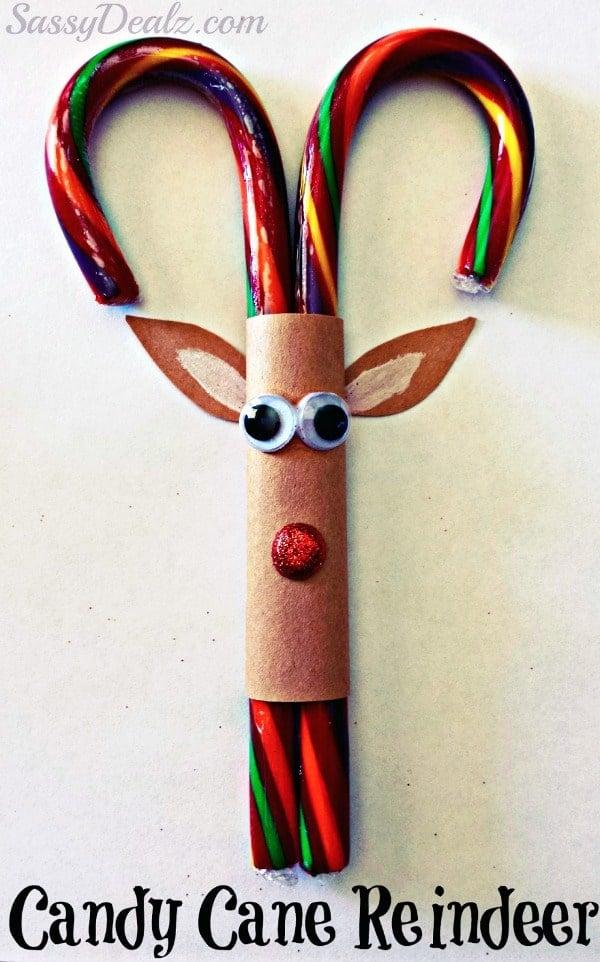 Easy Candy Cane Reindeer DIY Christmas Ornament