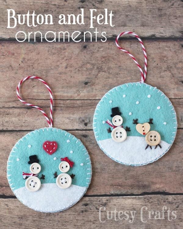 Button and Felt Handmade Ornaments