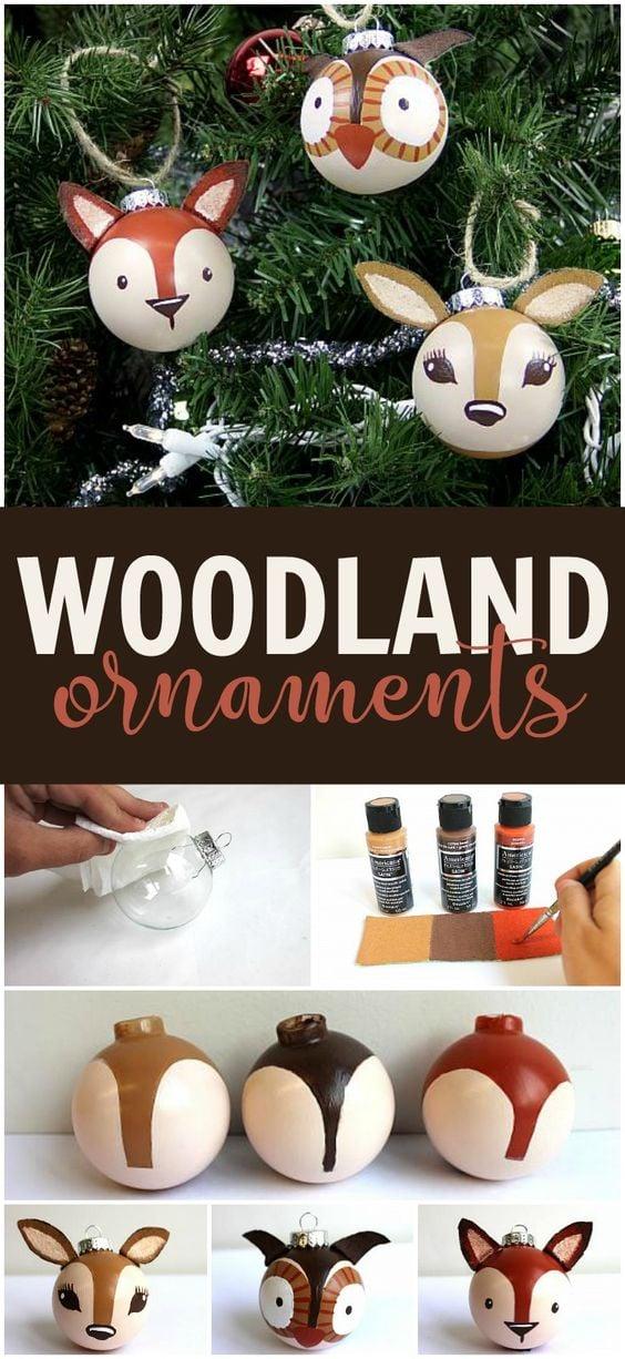 Woodland Animal DIY Christmas Ornaments