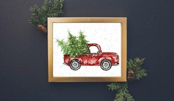 Free Christmas Printable Truck Wall Art
