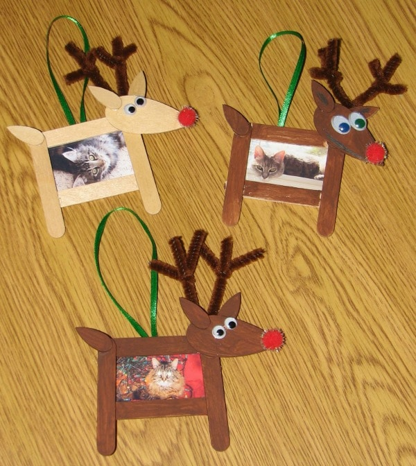 Easy Popsicle Stick Reindeer Homemade Ornaments
