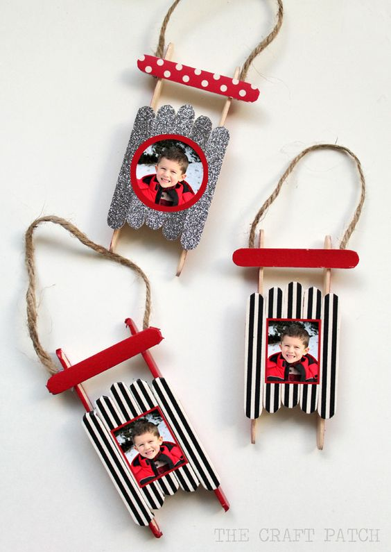 Popsicle Stick Sled Homemade Ornaments