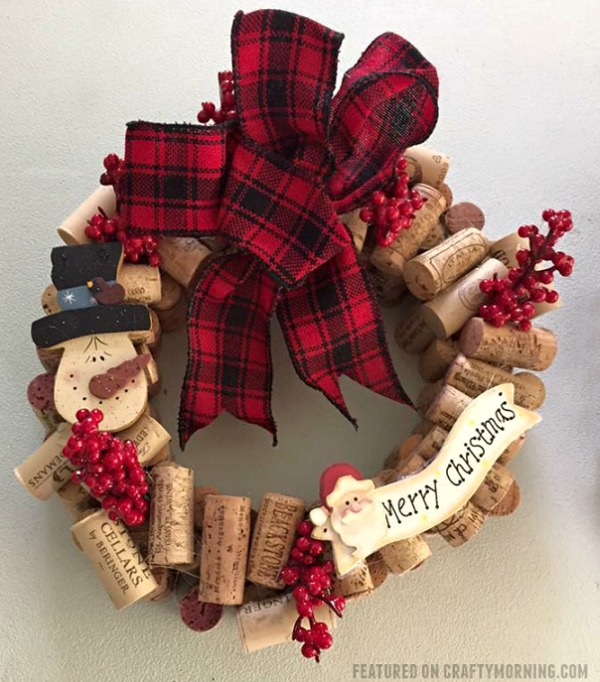 Wine Cork Snowman Wreath